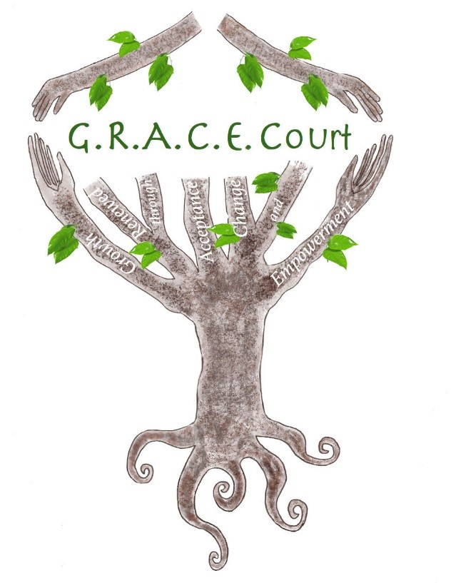 GRACE Court logo, designed by Andrea Junco and Tania Smith, School for Advanced Studies.
