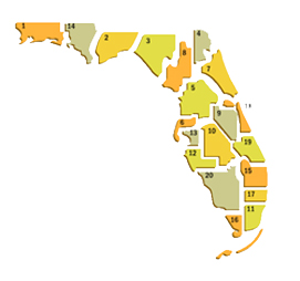 Distribution of Circuit Courts in Florida