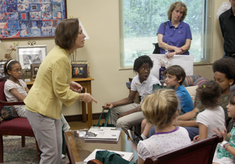 Justice Barbara Pariente speaks to children in her office