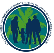 An image of a family with the words, a fully integrated comprehensive approach to handling all cases involving children and families