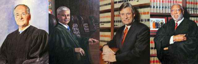 Official oil paintings of the four most recently-appointed justices—Justices Charles T. Canady, Ricky Polston, Jorge Labarga, and James E.C. Perry.