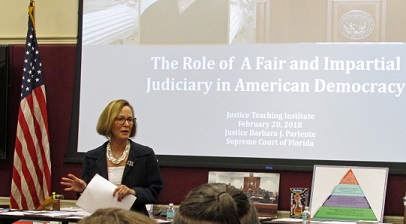 Justice Barbara J. Pariente's session on the Role of a Fair and Impartial Judiciary in American Democracy ignites the teachers' interest.