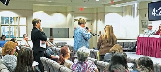 WINGS stakeholders held two public hearings, speakers at the February public hearing in Orlando, pictured here, share their concerns with WINGS members.